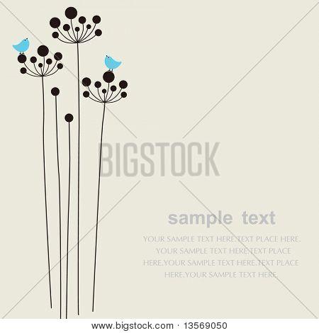 矢量花和鸟背景
