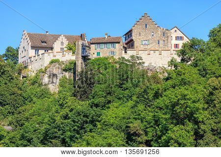 Laufen-Uhwiesen, Switzerland - 22 June, 2016: the Laufen Castle. Laufen Castle is a castle in the municipality of Laufen-Uhwiesen in the Swiss canton of Zurich. It is a Swiss heritage site of national significance, overlooking the Rhine Falls waterfall.