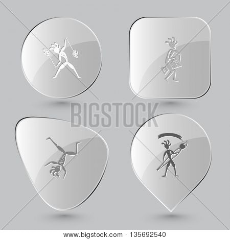 Ethnic set. Glass buttons on gray background. Vector icons.