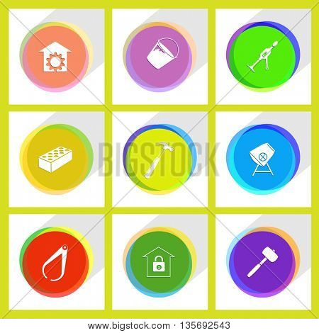 Industrial tools set.  Internet template. Vector icons.