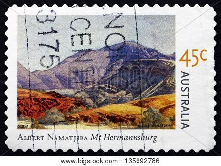 AUSTRALIA - CIRCA 2002: a stamp printed in the Australia shows Mt. Hermannsburg Painting by Albert Namatjira circa 2002