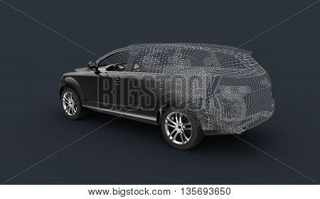 3d car model wireframe pc art render