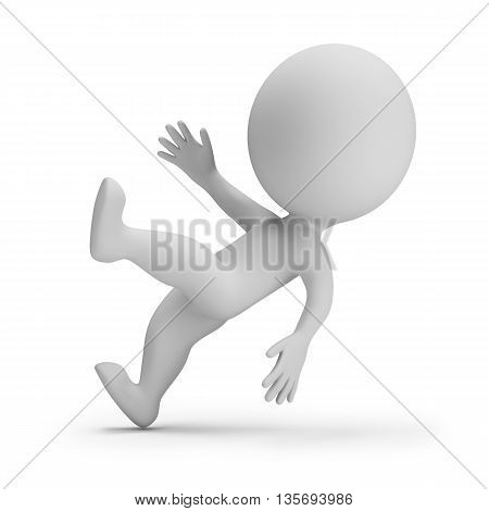 3d small person - slipped. 3d image. White background.