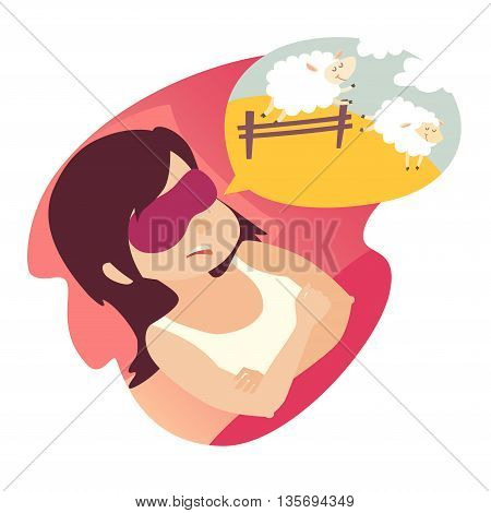 Girl with counting sheep. Stress problem of sleep insomnia concept. Cartoon woman in bad. Sheep jumping over the fence. Vector illustration on white background. Flat sticker. Insomnia woman icon
