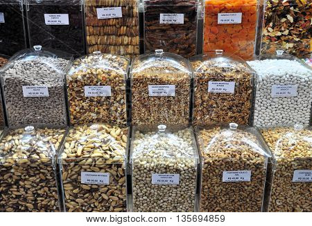 Diferent kind of spices and beans at Municipal Maket in Sao Paulo Brazil