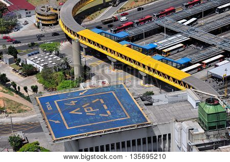 Aerial View of heliport and Dom Pedro II Bus Station Sao Paulo Brazil