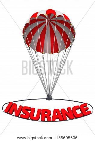 """The word insurance on a parachute. Red word """"INSURANCE"""" coming down on a parachute. Isolated. 3D Illustration poster"""