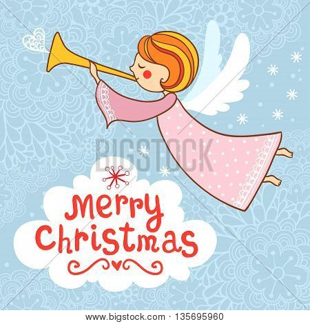 Greeting card Christmas card with Christmas angel. New year s card.