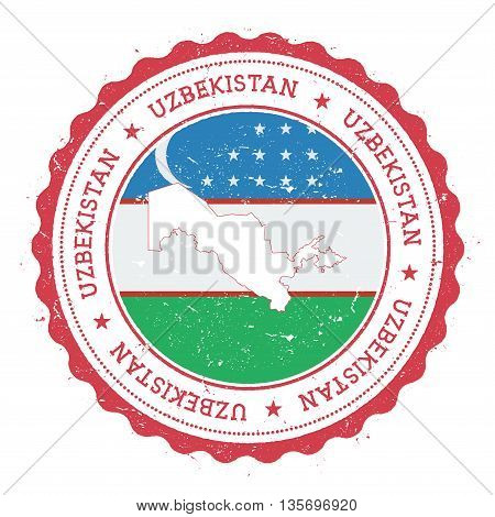 Uzbekistan Map And Flag In Vintage Rubber Stamp Of State Colours. Grungy Travel Stamp With Map And F