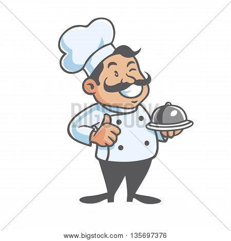 Happy Chef Serving Food Clipart Vector Art