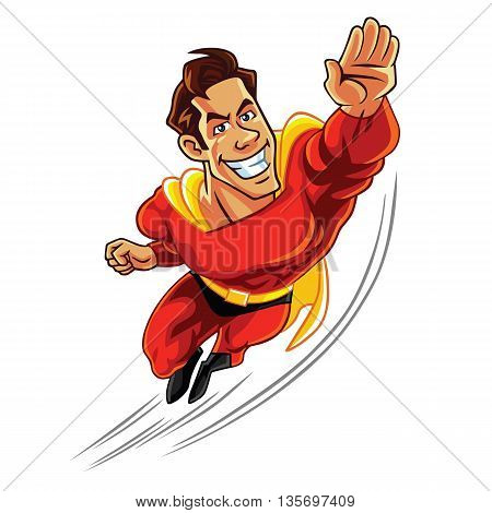 superhero flying with muscly body cartoon vector