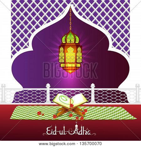 vector illustration of holy book of Quran with lamp on Eid Mubarak background