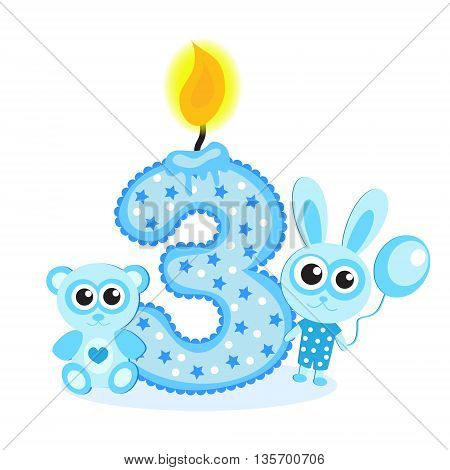 Happy Third Birthday Candle and Animals Isolated on white. The number three. Blue card for boy