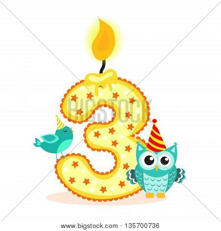 Happy Third Birthday Candle and Animals Isolated on white. The number three. Vector illustration