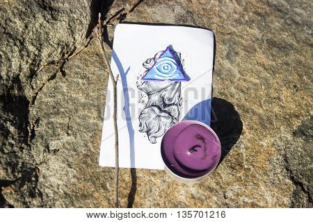 The All Seeing Eye. Masonic representation from art and candle