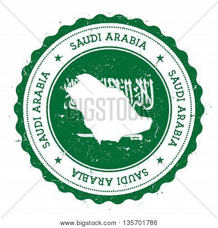 Saudi Arabia Map And Flag In Vintage Rubber Stamp Of State Colours. Grungy Travel Stamp With Map And