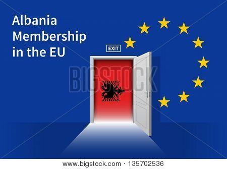 Flag of the Albania and the European Union. Albania Flag and EU Flag. Abstract Albania exit in a wall