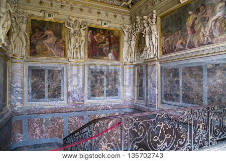FONTAINBLEAU, FRANCE - MAY 16, 2015: This place is called the King's Staircase. It is located on the site of the former bedroom of Mrs. d'Estamp.