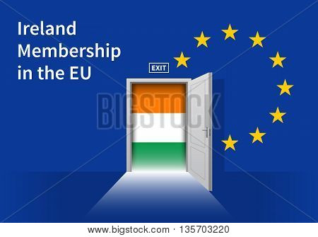 Flag of the Ireland and the European Union. Ireland Flag and EU Flag. Abstract Ireland exit in a wall