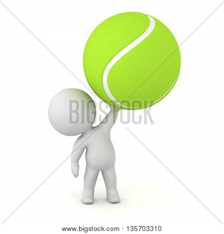 3D character holding up a large tennis ball. Isolated on white background.