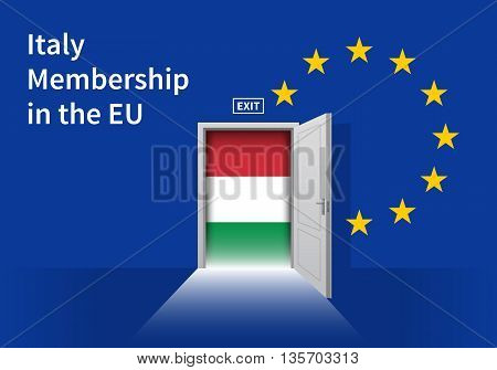 Flag of the Italy and the European Union. Italy Flag and EU Flag. Abstract Italy exit in a wall