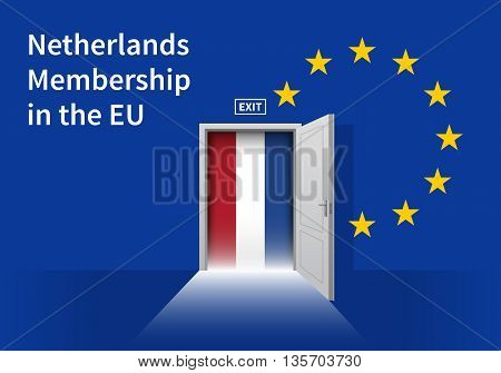 Flag of the Netherlands and the European Union. Netherlands Flag and EU Flag. Abstract Netherlands exit in a wall
