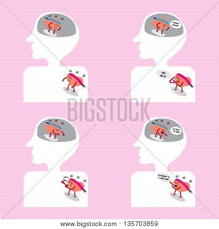brain and heart cartoon character vector illustration image showing action moments fighting together inside head and human body (conceptual image about thought and passion are not same directions)