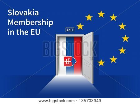 Flag of the Slovakia and the European Union. Slovakia Flag and EU Flag. Abstract Slovakia exit in a wall