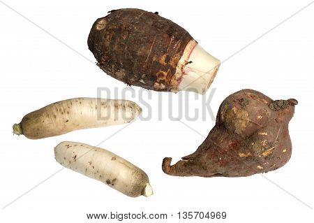 Chinese Reddish Sweet Potato and Taro Root Isolated