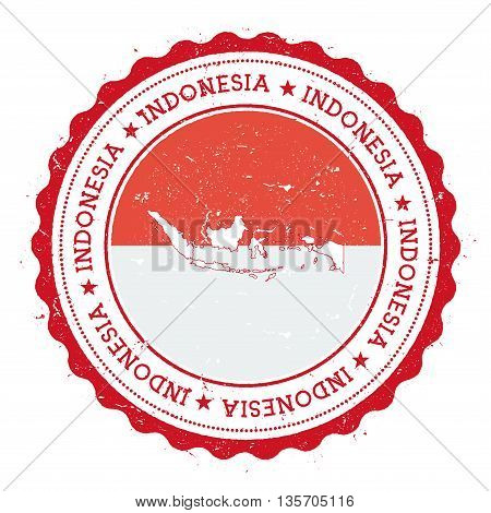 Indonesia Map And Flag In Vintage Rubber Stamp Of State Colours. Grungy Travel Stamp With Map And Fl