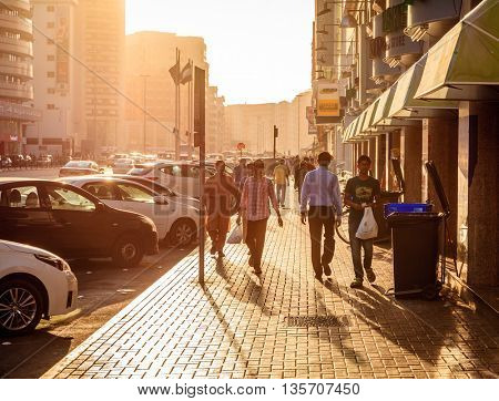 Dubai, June 14, 2016: Khalid Bin Al Waleed Street in Bur Dubai - center district of Dubai, UAE