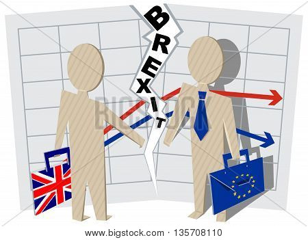 Implications for Business brexit Britain and European Union. Illustration in vector format