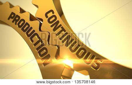 Golden Cogwheels with Continuous Production Concept. Continuous Production - Illustration with Glowing Light Effect. Continuous Production on the Golden Metallic Gears. 3D.