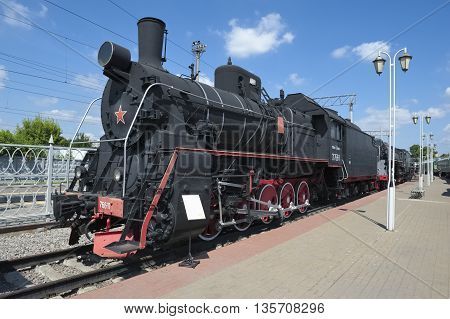 MOSCOW, RUSSIA - JUNE 23, 2016: Museum of Railway Transport of the Moscow railway, cargo steam locomotive Er 766-11, built in 1949