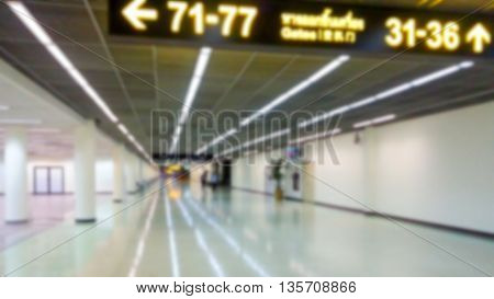 Blurred Photo Of Airport Passenger Terminal Interior For Background Use.