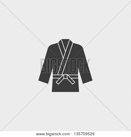 karate kimono icon fish icon in a flat design in black color. Vector illustration eps10