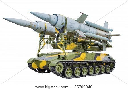 Self-propelled launcher anti-aircraft missile system KS-41. isolated on white background