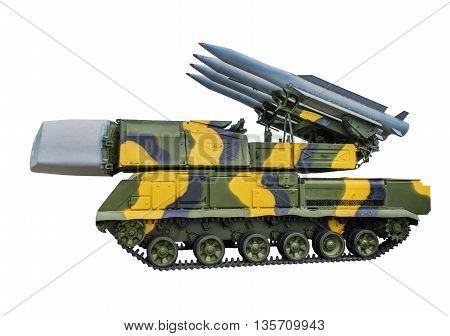 Soviet Propelled fire setting 9А310 anti-missile system 9К37 Buk. isolated on white background