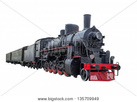 Train with steam locomotive series Ov. isolated on white background