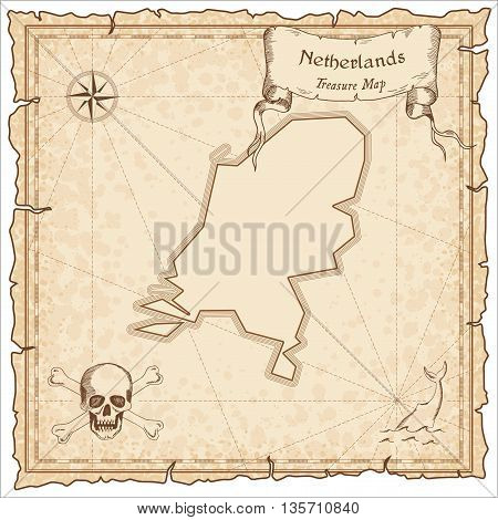 Netherlands Old Pirate Map. Sepia Engraved Template Of Treasure Map. Stylized Pirate Map On Vintage