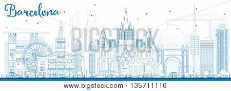 Outline Barcelona Skyline with Blue Buildings. Vector Illustration. Business Travel and Tourism Concept with Historic Buildings. Image for Presentation Banner Placard and Web Site.