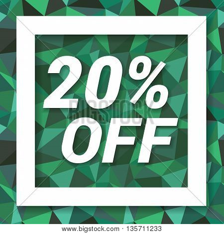 Green emerald sale sticker 20 percent off. Sale and discount banner. Vector illustration