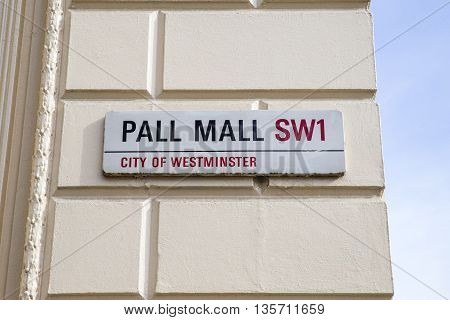 Street sign for the historic Pall Mall in the City of Westminster London.
