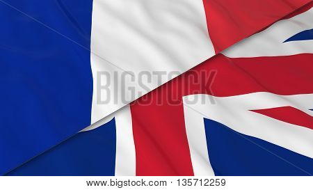 Flags Of France And The United Kingdom - Split French Flag And British Flag 3D Illustration