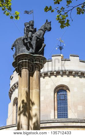 Knights Templar statue situated outside Temple Church in London.