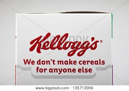 LONDON UK - MAY 6TH 2016: A close-up of the Kelloggs logo and tag line on a packet of Kelloggs Corn Flakes on 6th May 2016.