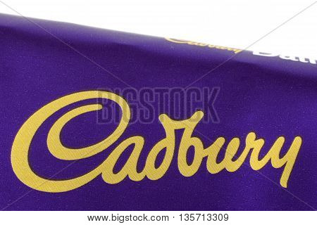 LONDON UK - MAY 6TH 2016: A close-up shot of the Cadbury logo on one of their confectionery products on 6th May 2016.