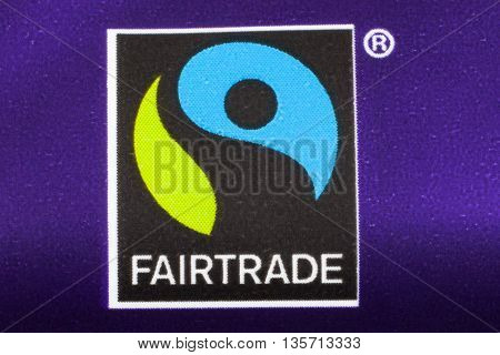 LONDON UK - MAY 6TH 2016: A close-up shot of the Fairtrade logo on a food product on 6th May 2016. Fair trade help producers in developing countries achieve better trading conditions and promote sustainability.