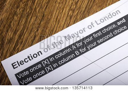 LONDON UK - APRIL 25TH 2016: A Ballot Paper for Mayor of London Election taken on 25th April 2016.