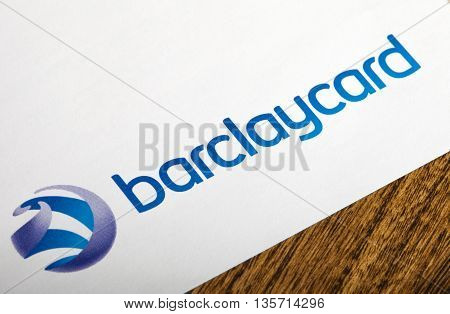 LONDON UK - APRIL 25TH 2016: The Barclaycard logo on an information leaflet on 25th April 2016. The company is part of Barclays Retail and Business Banking.